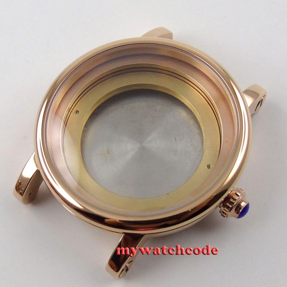 лучшая цена 43mm rose golden automatic Watch Case fit ETA 2824 2836 MOVEMENT P78