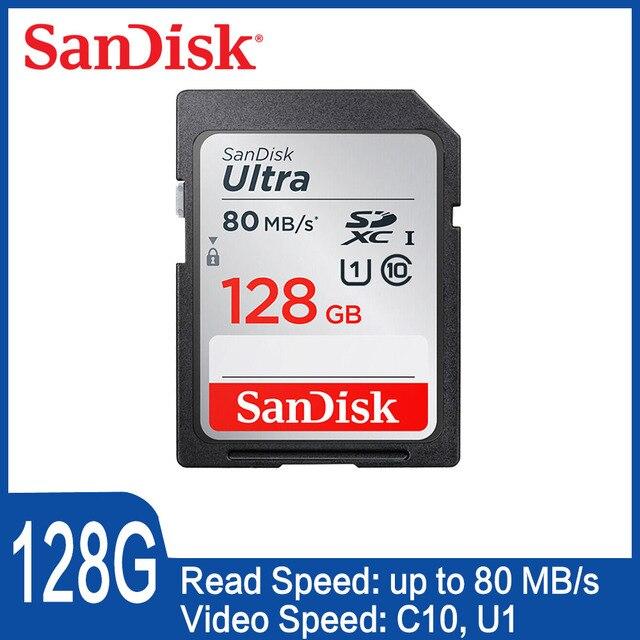 SanDisk Cartão Do Ultra SD 32GB16GB 64 GB 128 GB C10 80 Mb sd Cartão de Memória SDHC/SDXC UHS-I para câmera cartao sd carte mémoire