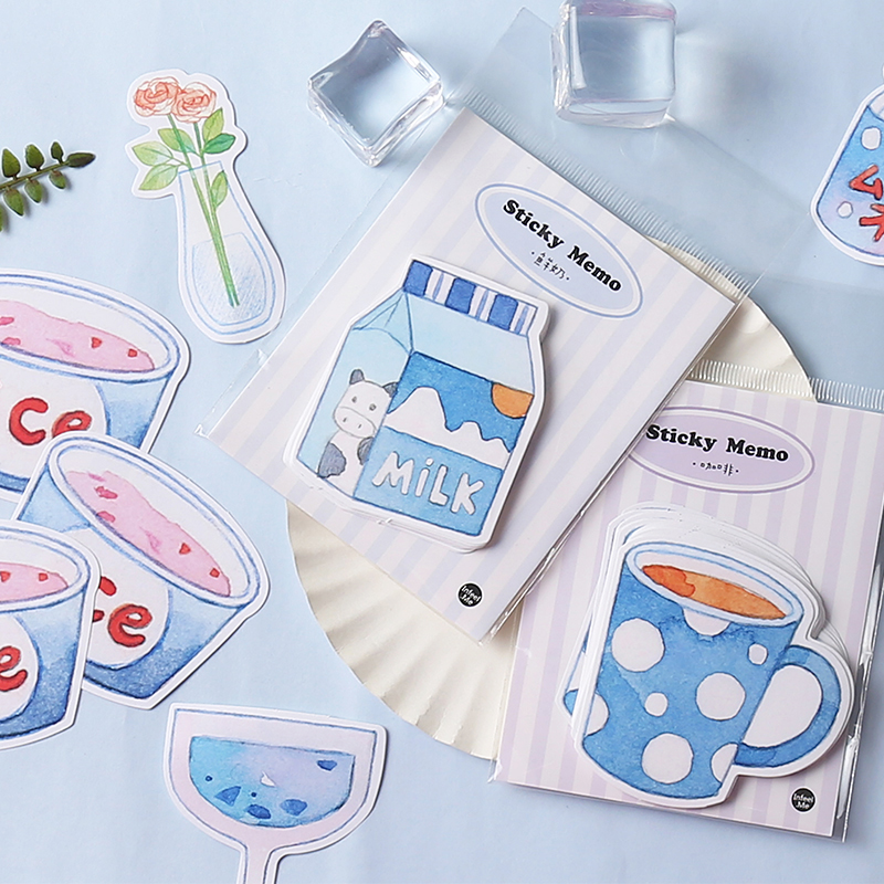 Luankong Creative Milk Drink Drin Memo Pad Sticky Notes Paper Sticker Notepad Kawaii Stationery Pepalaria