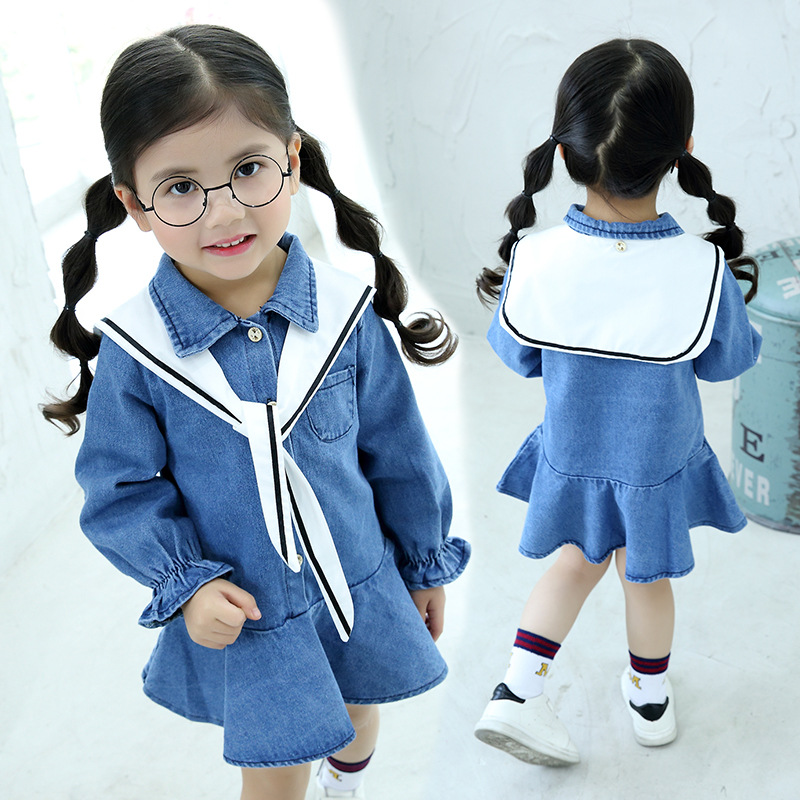 2017 spring baby girls junior kids long sleeve shirt dress naval sailor style denim dress school uniform for children