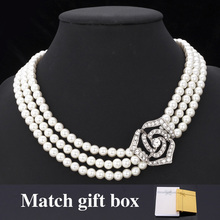 Nueva Linda Flor de Rose de Novia Hermosa Perla Beads Clear Rhinestone Joyería Pendiente del Collar de La Joyería Para Las Mujeres MGC N1201