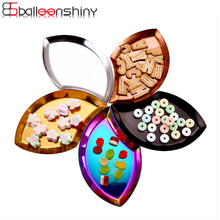 BalleenShiny Leaf Shape Fruit Jewery Plate Dish Trays Metal Stainless Steel Tray Storage Plates Tableware
