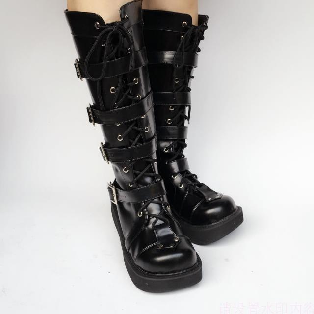 Japanese-Harajuku-High-Platform-Cosplay-Lolita-Mid-Calf-Boots-Women-Black-PU-Leather-Buckle-Straps-Lace-Up-Gothic-Punk-High-Boots-3