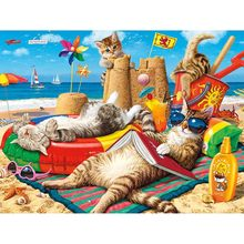 "5D DIY Diamond Painting Cross Stitch Full Square/Round Drill ""Seaside holiday cat"" 3D Diamond Embroidery Mosaic Rhinestone Gift(China)"