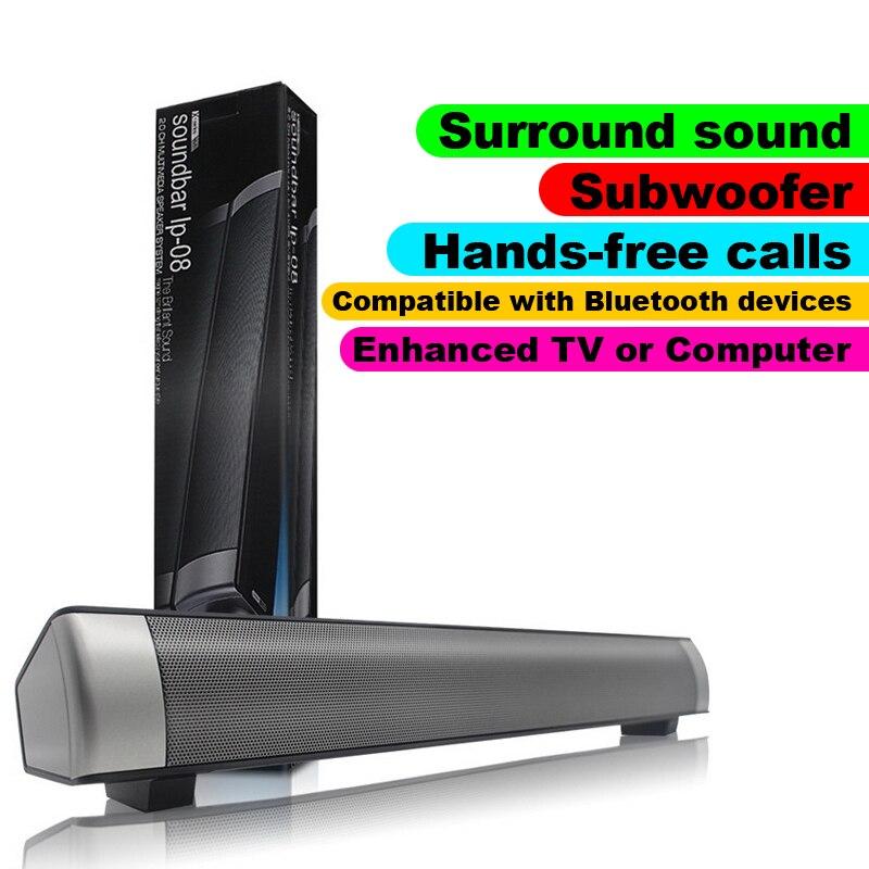 LP08 sans fil Bluetooth Subwoof haut-parleur amélioré TV ou ordinateur barre de son Support TF carte jouer appel téléphonique avec des appareils Bluetooth