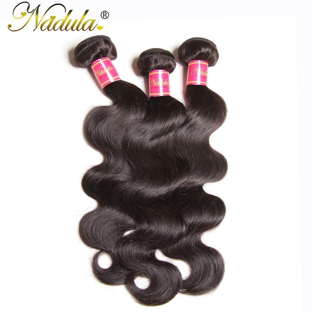 NADULA HAIR 3 / 4pcs / Lot Malayziya Bədən Dalğalı Saç - İnsan saçları (qara üçün) - Fotoqrafiya 2