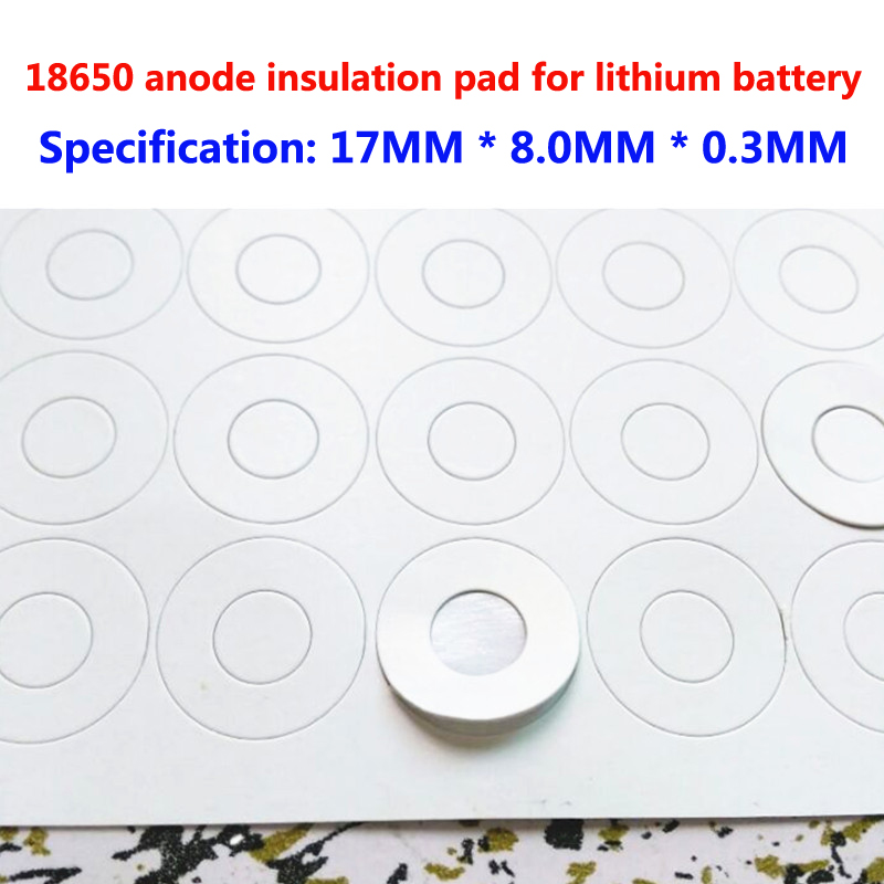 100 pcs/lot 1 section 18650 commune batterie anode creux isolation joint creux surface plate tampon isolation meson 17*8*0.3