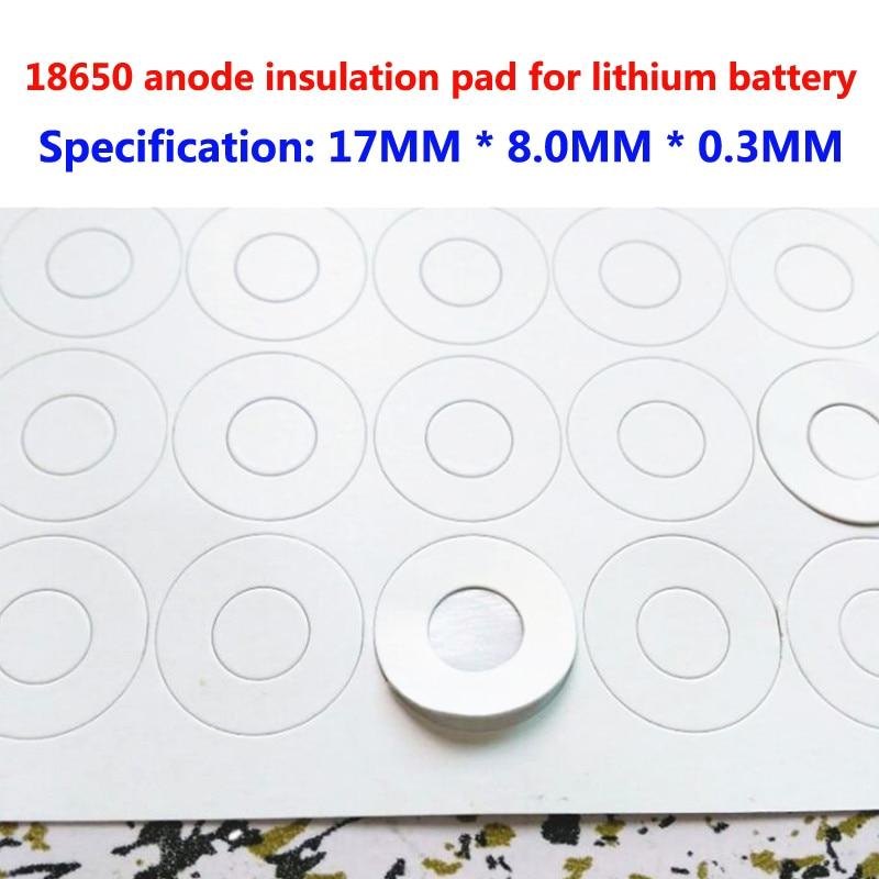 100 pçs/lote 1 seção 18650 bateria comum ânodo oco isolamento isolamento pad méson junta oco superfície plana 17*8*0.3