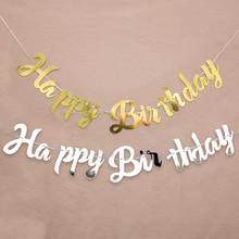 Золотой, серебряный баннер с днем рождения, гирлянда для украшения свадебной вечеринки, вечерние баннеры для украшения дома