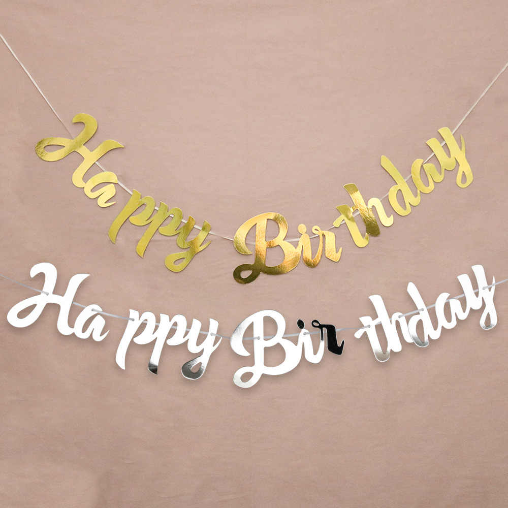 Gold Silver Happy Birthday Banner Bunting Just Married Hang Garland Wedding Party Decor Banner Home Party Baby Shower Decoration