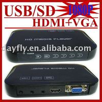 JEDX USB Full HD 1080 P HDD Media Player HDMI VGA mit SD/MMC kartenleser MKV H.264 RM WMV, HD AD-Player