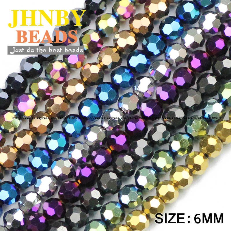JHNBY Football Faceted shape Austrian crystal 50pcs 6mm plated color Round Loose beads Jewelry bracelet accessories making DIY