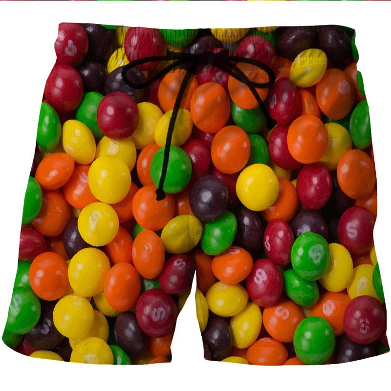 Colorful Candy Printed Beach Shorts Men Board Shorts Trunks 2018 Summer Casual Quick Dry Mesh Pocket Hawaiian Shorts Homme 6XL