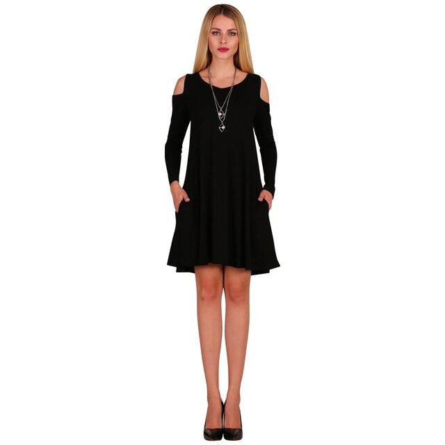 4415b232e767 Women Long Sleeve Casual Loose Swing T-Shirt Dress Off Shoulder Tunic  Pockets Mini Dress