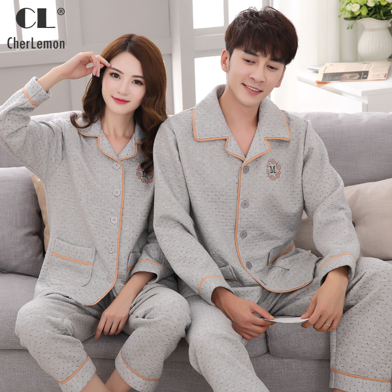 CherLemon Couples Matching Thick Quilted Cotton Pajama Set Winter Warm Womens Long Pyjamas Classic Mens Button Up Grey Sleepwear