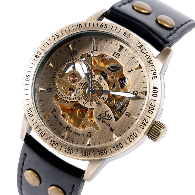 Prix pour SHENHUA Squelette Mécanique Montre Hommes Automatique D'affaires De Luxe Militaire Montre-Bracelet Casual Male Horloge Heures Relogio Masculino