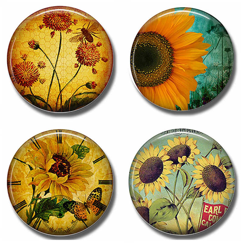 Honey Bee Garden 30 MM Fridge Magnet Sun Flower Glass Dome Magnetic Refrigerator Stickers Note Holder Beekeeper Gift Home Decor