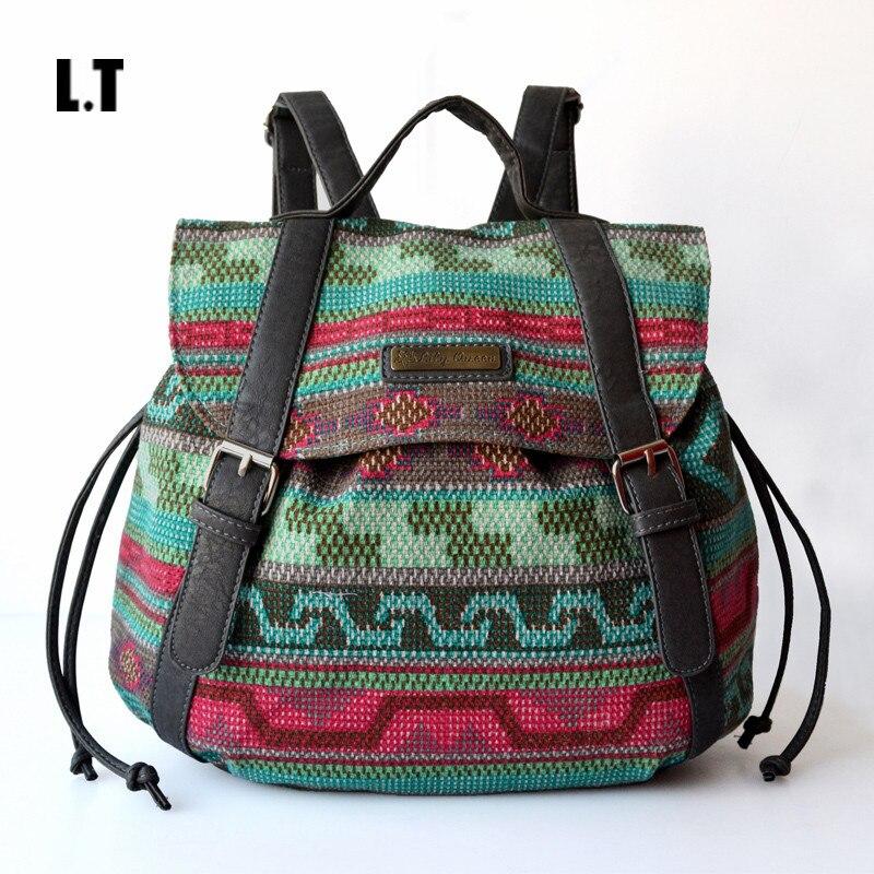 2017 Women Vintage Feminine Backpack Casual PU Leather Bohemian Boho Tribal Hippie Retro Folk Gypsy Ethnic Bag For Teenage Girls