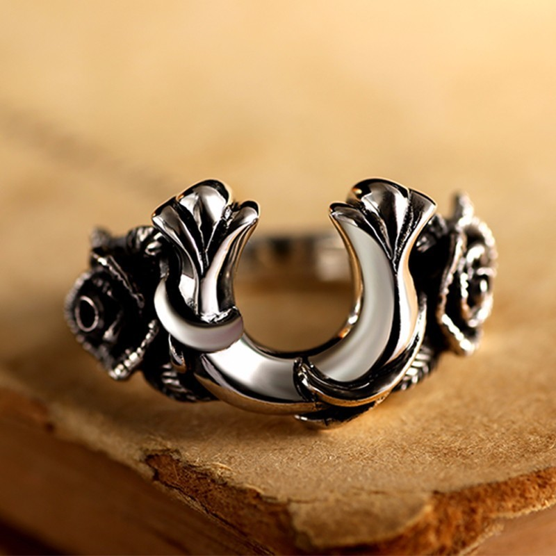 zabra vintage rings for men women horseshoe shape rose flower steampunk retro thai handmade 925 sterling silver male jewelry - Horseshoe Wedding Rings