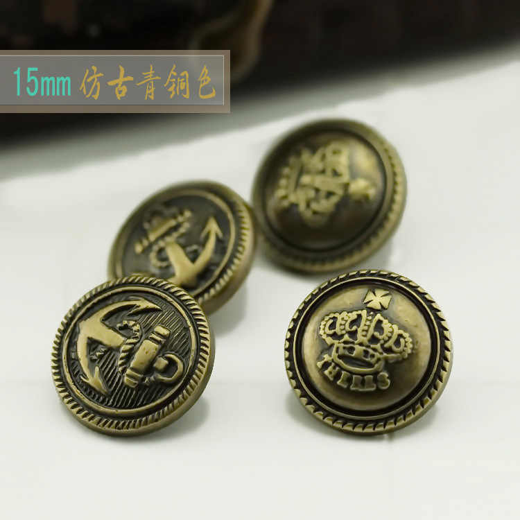 15MM antique bronze coin anchor / Crown pattern DIY handmade jewelry , clothing accessories and materials