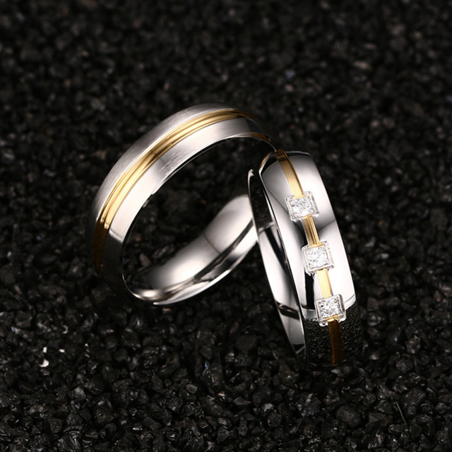 Meaeguet Silver Color Classic Lover's CZ Stone Engagement Rings Stainless Steel Couple Anel Wedding Bands Lover Women Jewelry