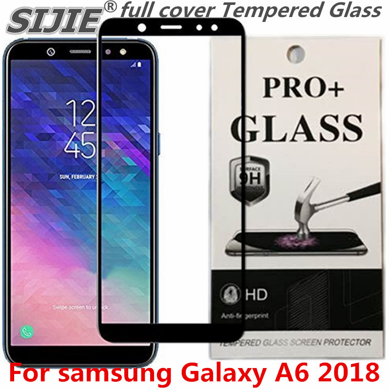 full cover Tempered Glass For samsung Galaxy A6 2018 A 6 Screen protective black Gold toughened case