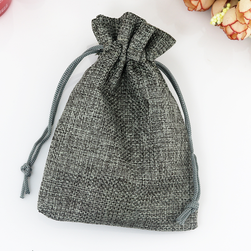 7*9cm 10pcs Vintage Style handmade Gray Jute bags Sacks Drawstring pouch gift bag favor Linen wedding jewelry Packaging Bags