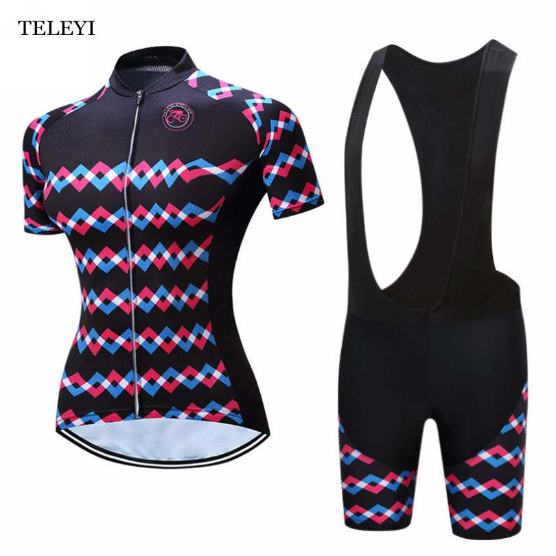 Prix pour 2017 TELEYI Ropa Ciclismo Vélo Jersey Breathble Femmes À Manches Courtes Vêtements de Cyclisme À Séchage Rapide Sportswear Vélos + Bib Shorts