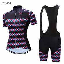 2017 TELEYI Ropa Ciclismo Cycling Jerseys Breathble Women Short Sleeve Cycling Clothing Quick Dry Bicycle Sportswear +Bib Shorts