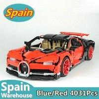 Красный Bugatti Chiron Technic серия гоночный автомобиль Строительные блоки совместимы Legoing 42083 4031 шт. технические строительные игрушки в Испании