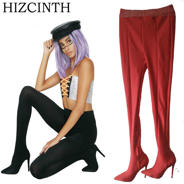 HIZCINTH Over-the-knee Booties,, Tights Boots, Thin Heels High Heels With Female Night Steel Pipe A Shoes Woman Bota Feminina