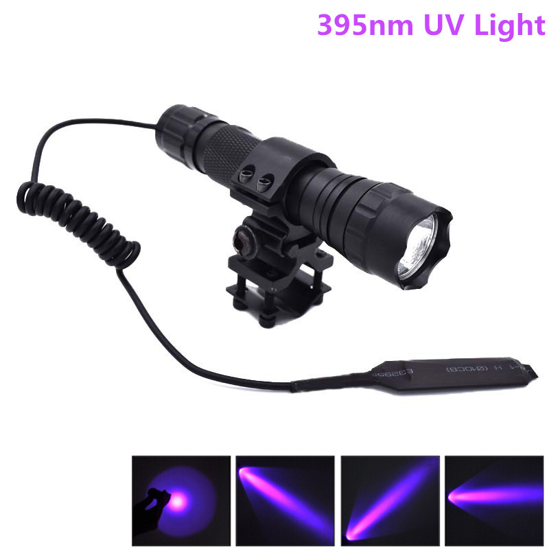 New 501B UV LED Flashlight Purple Light UV 395nm Ultraviolet Lanterna LED Flash Torch Linternas + Mount & Remote Pressure Switch ...