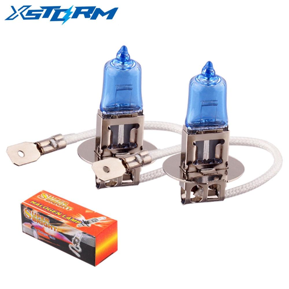 2pcs H3 55W 12V Super Bright White Fog Lights Halogen Bulb High Power Car Headlight Lamp Car Light Source Parking Auto 55W