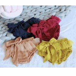 MYUDI-Bebê Da Menina Shorts de Algodão Infantil Calças Curtas com Bow-tie Verão Criança PP calças para os Bebés 0-24 M