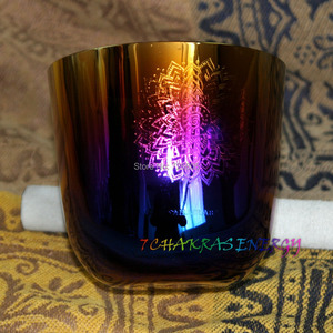 """Image 3 - 4th octave G Throat chakras carved design alchemy crystal singing bowl about 5.5"""""""