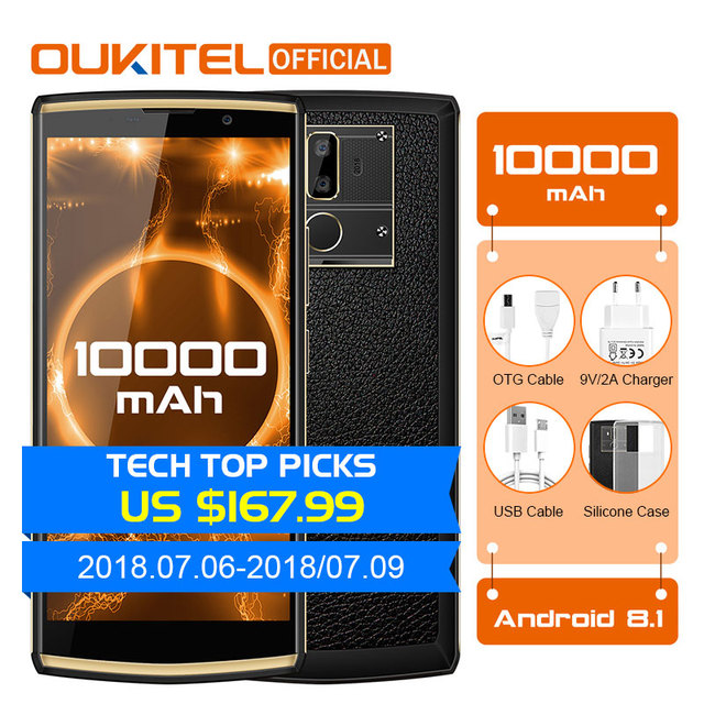 "OUKITEL K7 Android 8.1 6.0"" FHD+ 18:9 MTK6750T 4G RAM 64G ROM 10000mAh 9V/2A Quick Charge 13.0MP+5.0MP Fingerprint Smartphone"