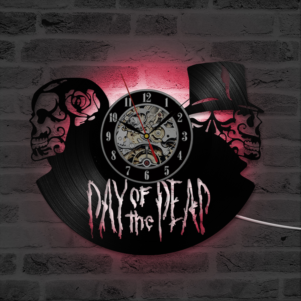 Hollow Skull Shape CD Record Wall Clock Day of the Dead Vinyl Record LED with 7colors Mute Clock Home Decoration Needle Display
