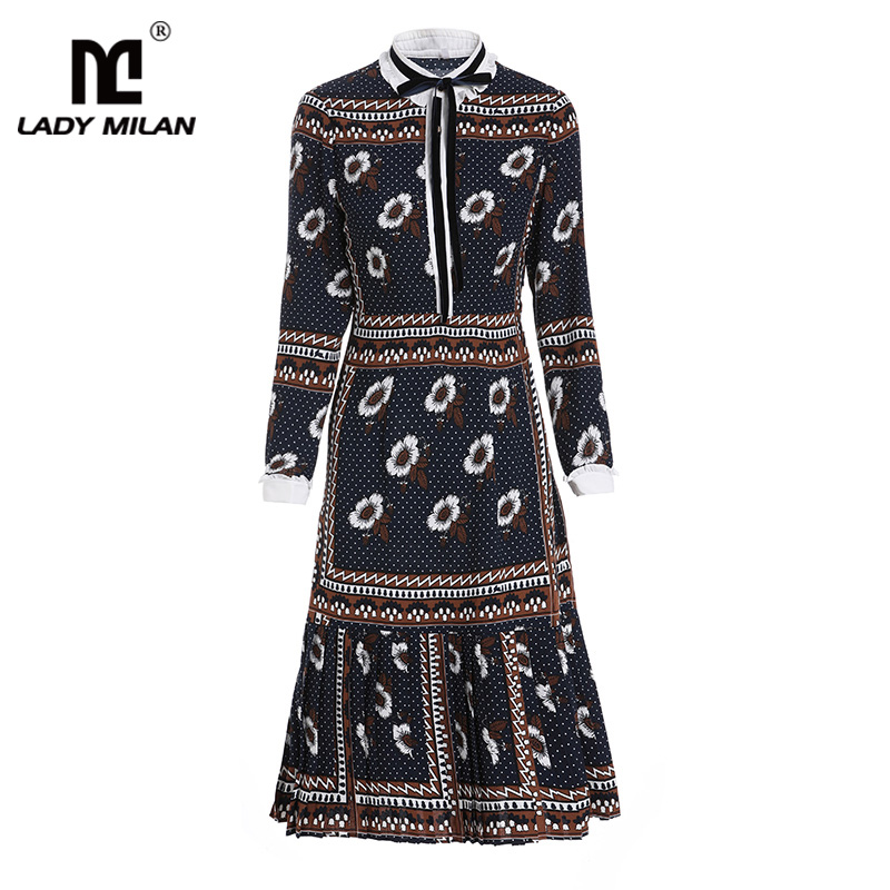 2019 vestidos de pasarela de mujer cuello redondo manga larga impreso plisado alta calle volantes vestidos de moda-in Vestidos from Ropa de mujer    1
