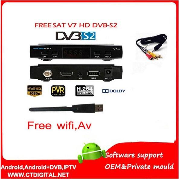 Free sat V7 3pcs HD Satellite Receiver Full 1080P +3PC USB WiFi DVB-S2 HD Support Cam powervu youpron set top box power vu