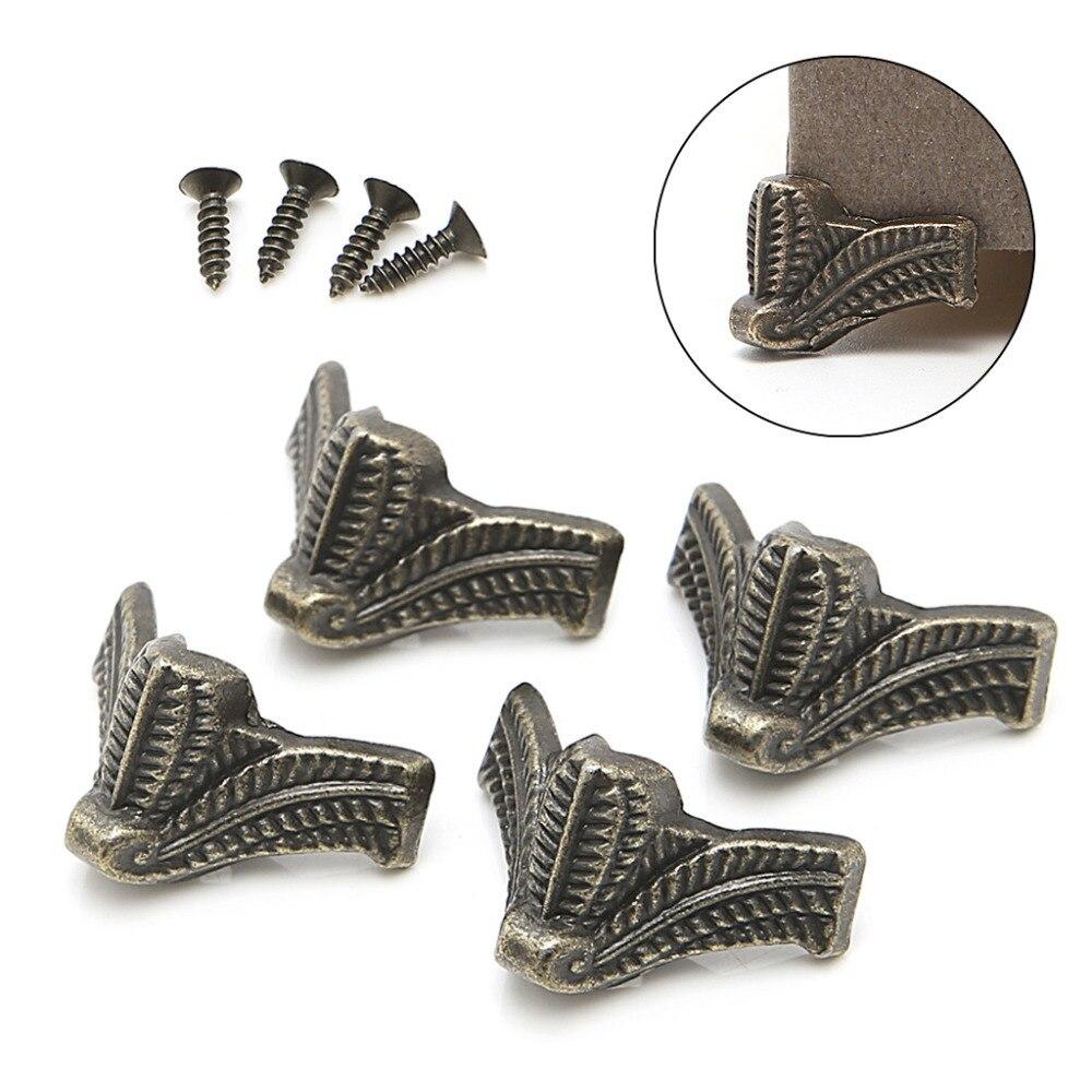 4x Vintage Jewelry Box Wooden Case Decorative Feet Leg Metal Corner Protector Brackets Y122