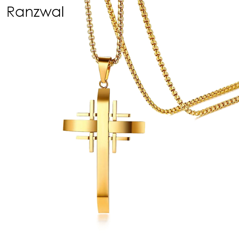 Ranzwal stainless steel cross pendants necklaces for men women ranzwal stainless steel cross pendants necklaces for men women gold color titanium steel necklace jewelry mne072 in pendant necklaces from jewelry aloadofball Images