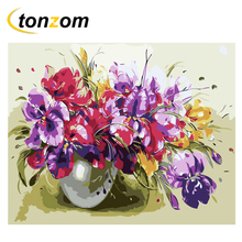 RIHE Flower Vase Diy Painting By Numbers Bloom Oil On Canvas Hand Painted Cuadros Decoracion Acrylic Paint Home Art
