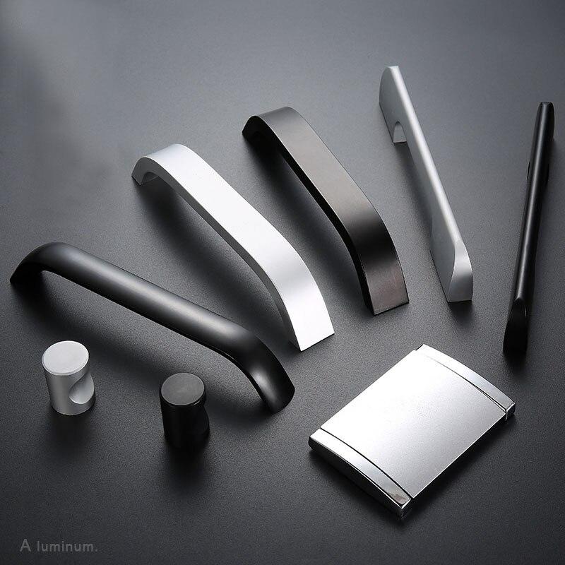 Aluminum white Cabinet Door Handle Kitchen Cabinet Handles Wardrobe Drawer Door Knobs 96mm-320mm Black