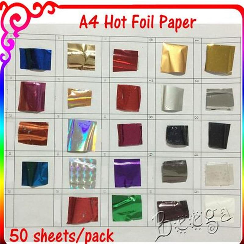 Free Shipping 50 Pcs 21x29cm A4 Size Gold Hot Stamping Foil Paper Laminator Laminating Transfere On Elegance Laser Printer