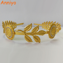 Anniyo Gold Color Leaf and Coin Headband Hairband For Women Wedding Hair Accessories Headpieces Arab Jewelry #059206