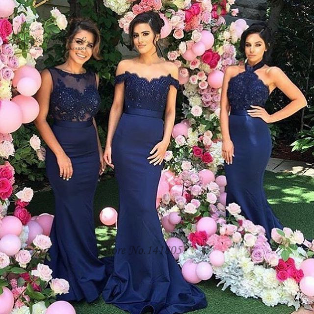 Navy Blue Mermaid Wedding Party Dress Lace off Shoulder Backless Beads Long Bridesmaid  Dresses Party Gowns Vestido Longo 4d1d1444a757