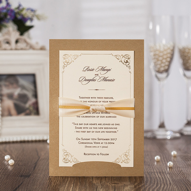 High Quality Gold Brown Wedding Invitation Card 184*127mm Including