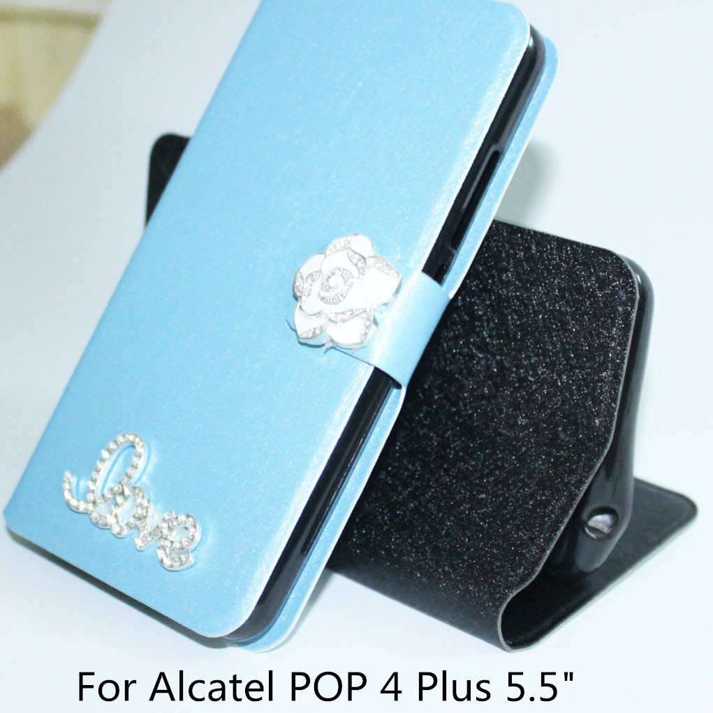 Кожаный чехол для <font><b>Alcatel</b></font> Pop 4 Plus 5.5 &#8220;Filp чехол для <font><b>Alcatel</b></font> One Touch Pop 4 plus 5056D 5056 м OT-5056D чехол телефон мешки
