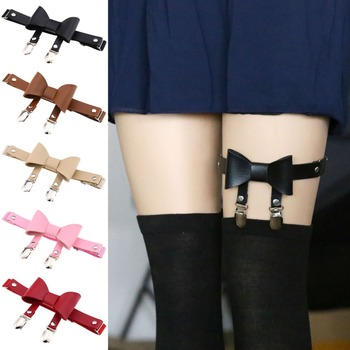 Punk Gothic Leather Suspender Belt Leg Ring Bow Knot Garter Belt with 2 Straps 16 Colors