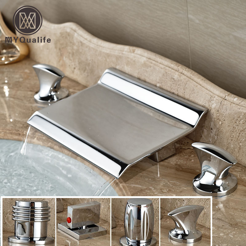 Dual Handle Widespread Waterfall Bathroom Basin Faucet Chrome Brass Tub Sink Mixer Taps contemporary designed chrome brass waterfall widespread bathroom basin faucet